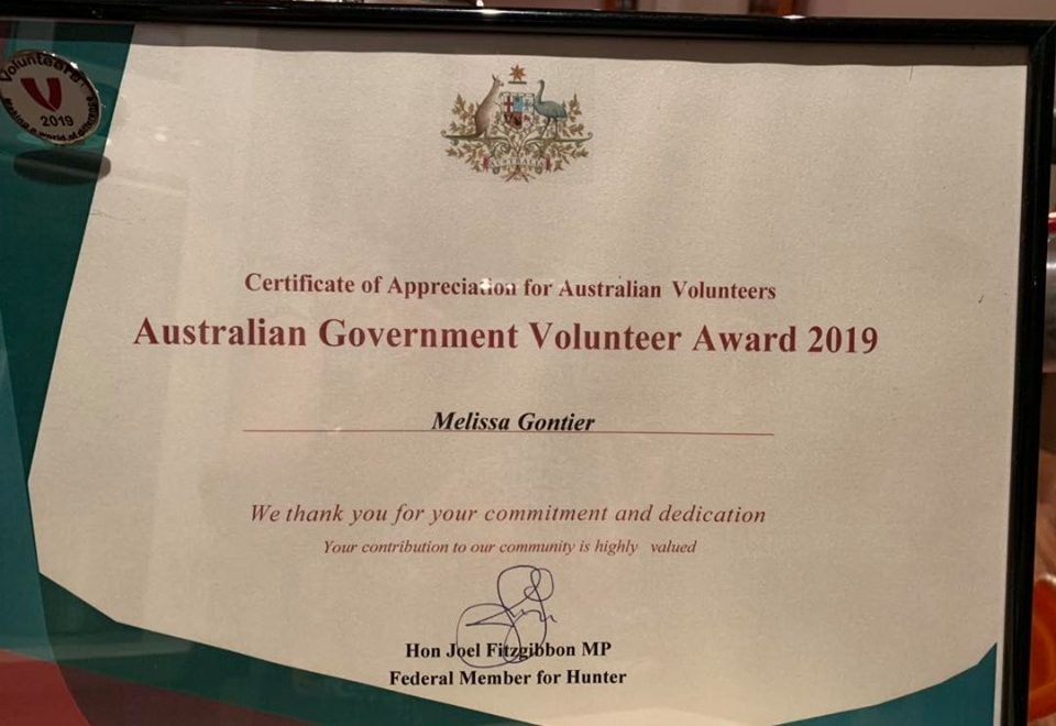 Mel's Australian Government Volunteer Award